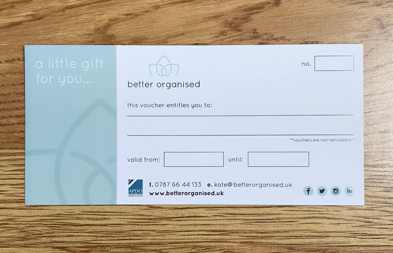 BETTER ORGANISED GIFT VOUCHERS
